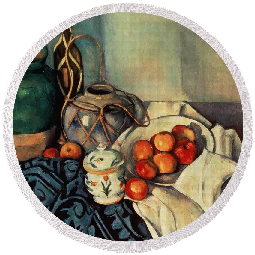 Still Round Beach Towel featuring the painting Still Life With Apples by Paul Cezanne