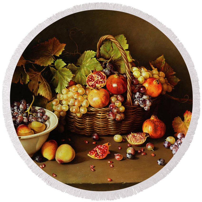 Jan Van Huysum Round Beach Towel featuring the painting Still Life With Basket And Pomegranate by Jose Escofet