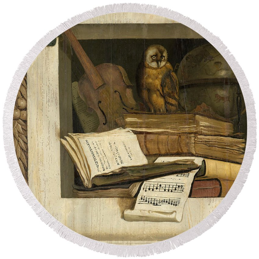 Jacob Van Campen Round Beach Towel featuring the painting Still Life With Books Sheet Music Violin Celestial Globe And An Owl by Jacob van Campen