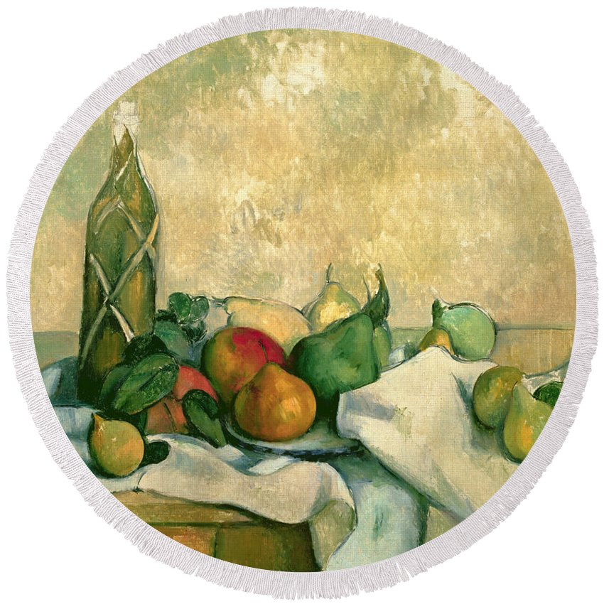 Still Round Beach Towel featuring the painting Still Life With Bottle Of Liqueur by Paul Cezanne
