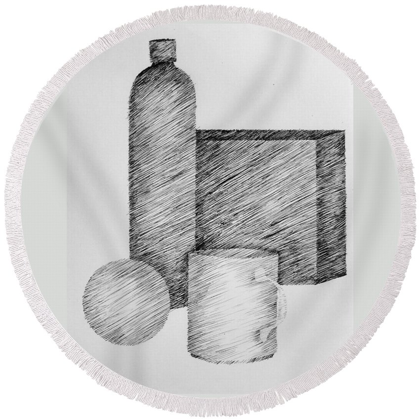 Still Life Round Beach Towel featuring the drawing Still Life With Cup Bottle And Shapes by Michelle Calkins