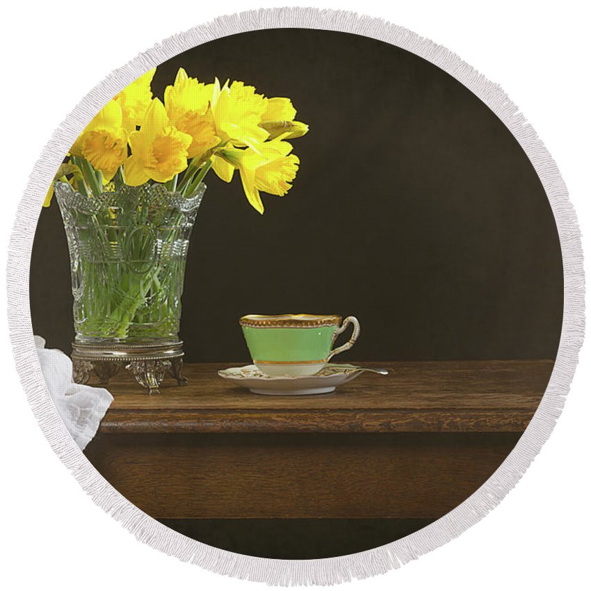 Bunch Round Beach Towel featuring the photograph Still Life With Daffodils by Amanda Elwell