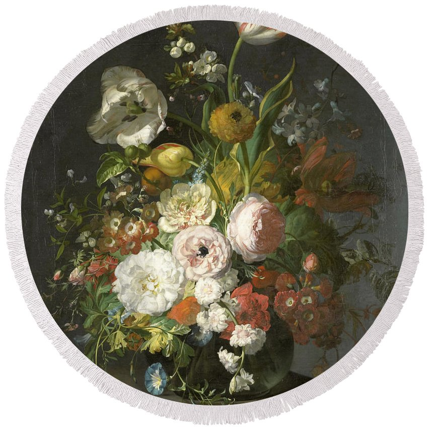 Rachel Ruysch Round Beach Towel featuring the painting Still Life With Flowers In A Glass Vase by Rachel Ruysch