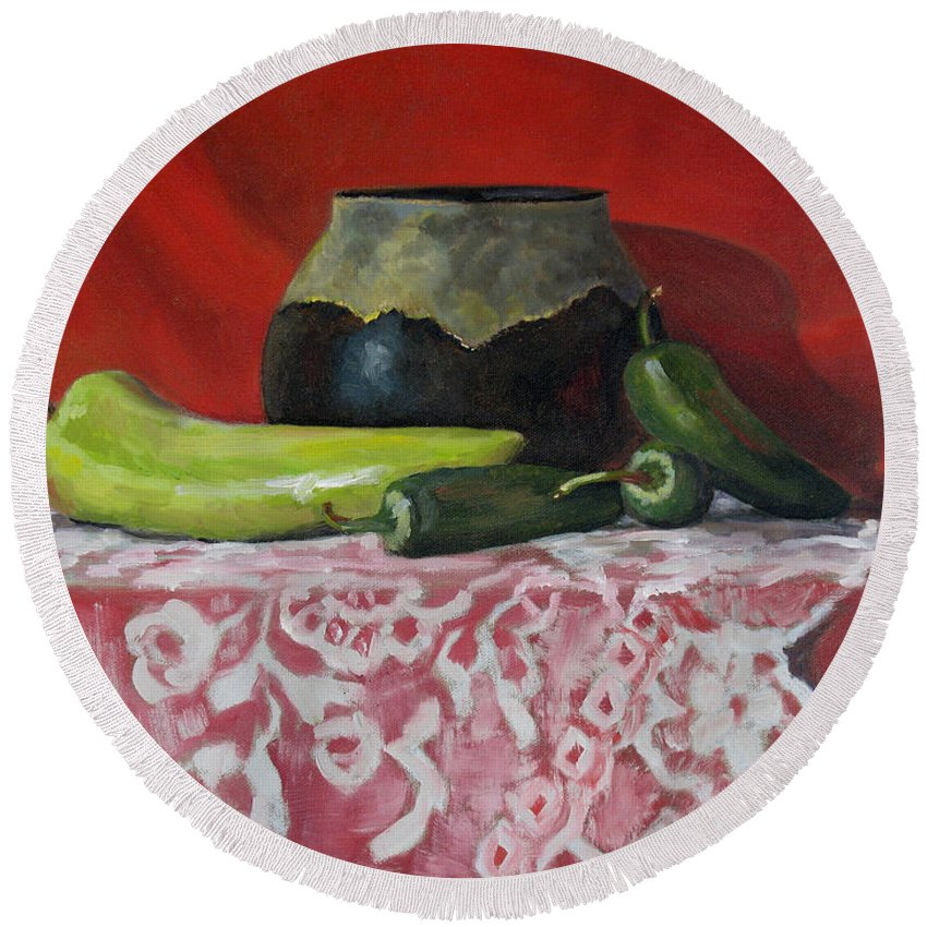 Realism Round Beach Towel featuring the painting Still Life With Green Peppers by Keith Burgess