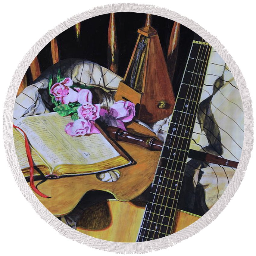 Painting Round Beach Towel featuring the painting Still Life With Guitar by Reggie Rivera
