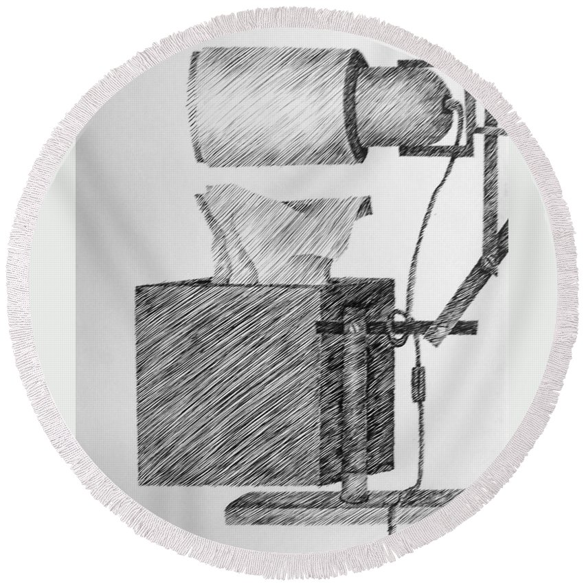 Still Life Round Beach Towel featuring the drawing Still Life With Lamp And Tissues by Michelle Calkins