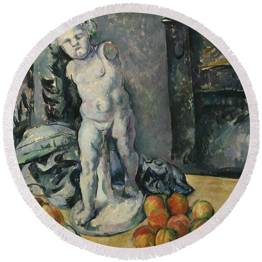 Plaster Round Beach Towel featuring the painting Still Life With Plaster Cupid by Paul Cezanne