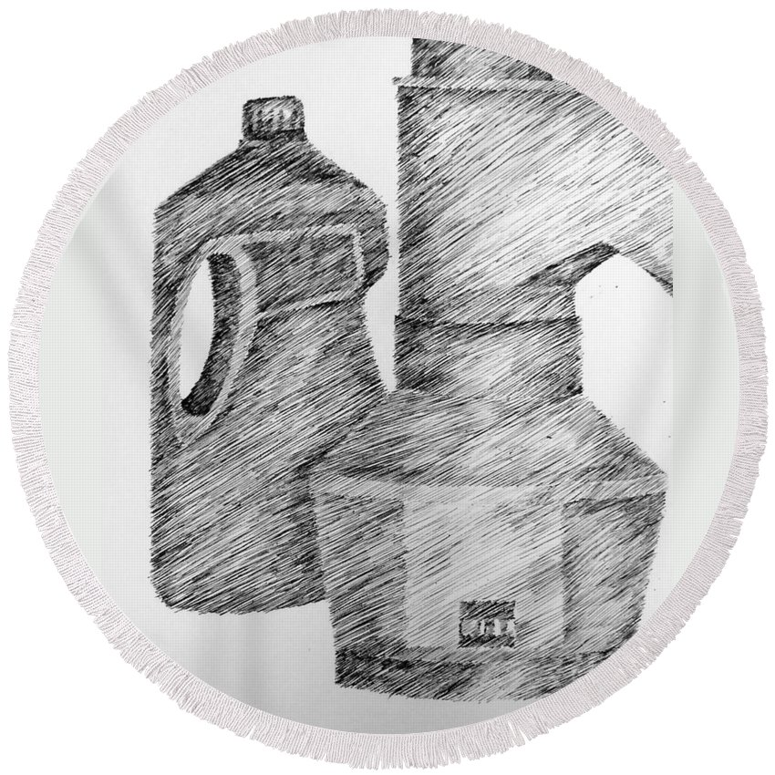Still Life Round Beach Towel featuring the drawing Still Life With Popcorn Maker And Laundry Soap Bottle by Michelle Calkins