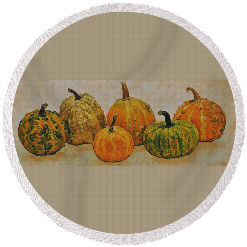 Still Life Round Beach Towel featuring the painting Still Life With Pumpkins by Iliyan Bozhanov