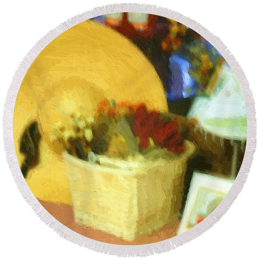 Basket Round Beach Towel featuring the digital art Still Life With Straw Hat by RC DeWinter