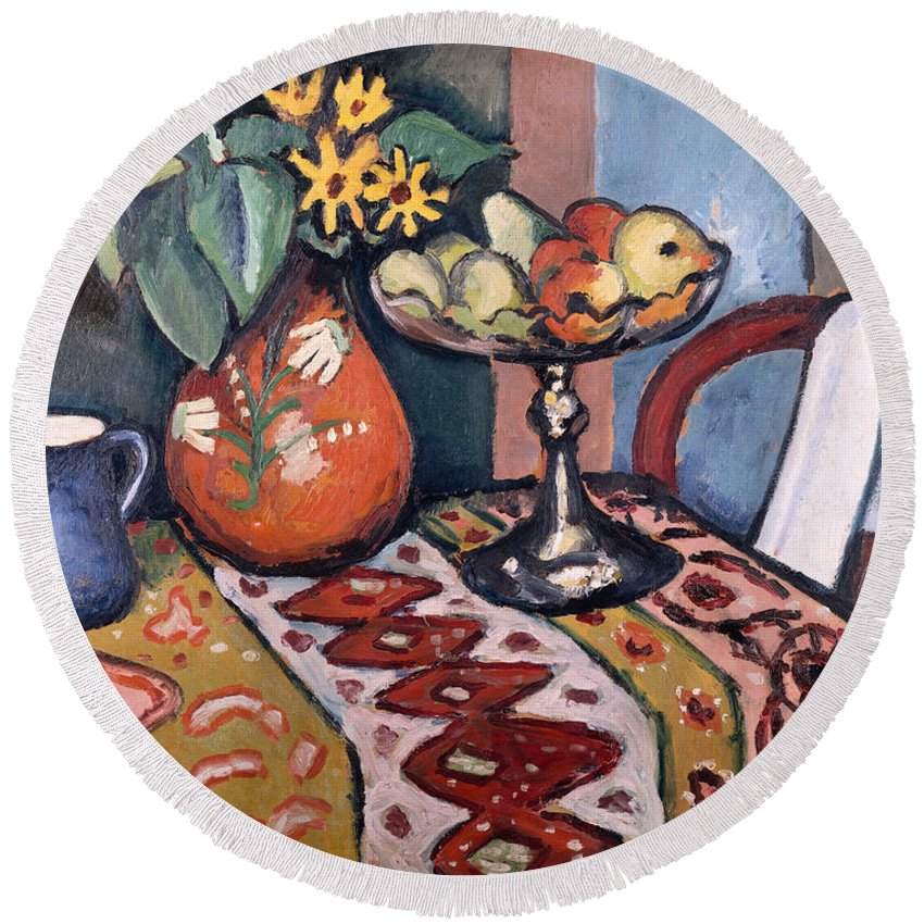 Still-life Round Beach Towel featuring the painting Still Life With Sunflowers II by August Macke