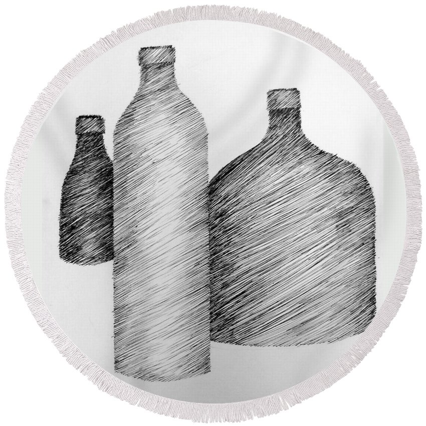 Still Life Round Beach Towel featuring the drawing Still Life With Three Bottles by Michelle Calkins