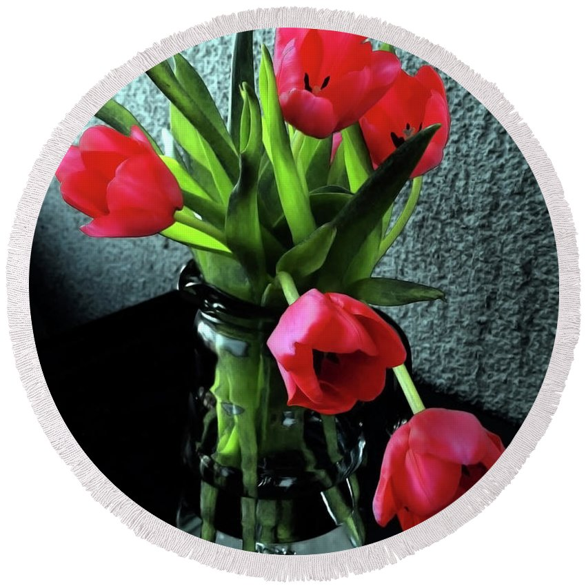 Tulips Round Beach Towel featuring the photograph Still Life With Tulips by Jasna Dragun