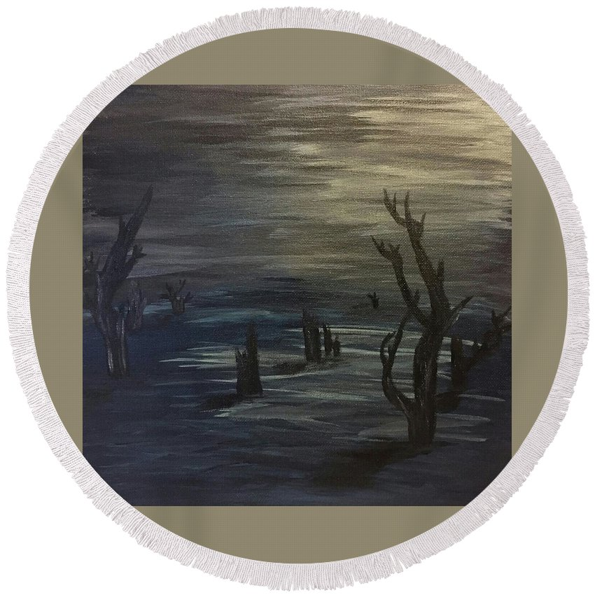 Moon Round Beach Towel featuring the painting Still Of Night by Susan Voidets