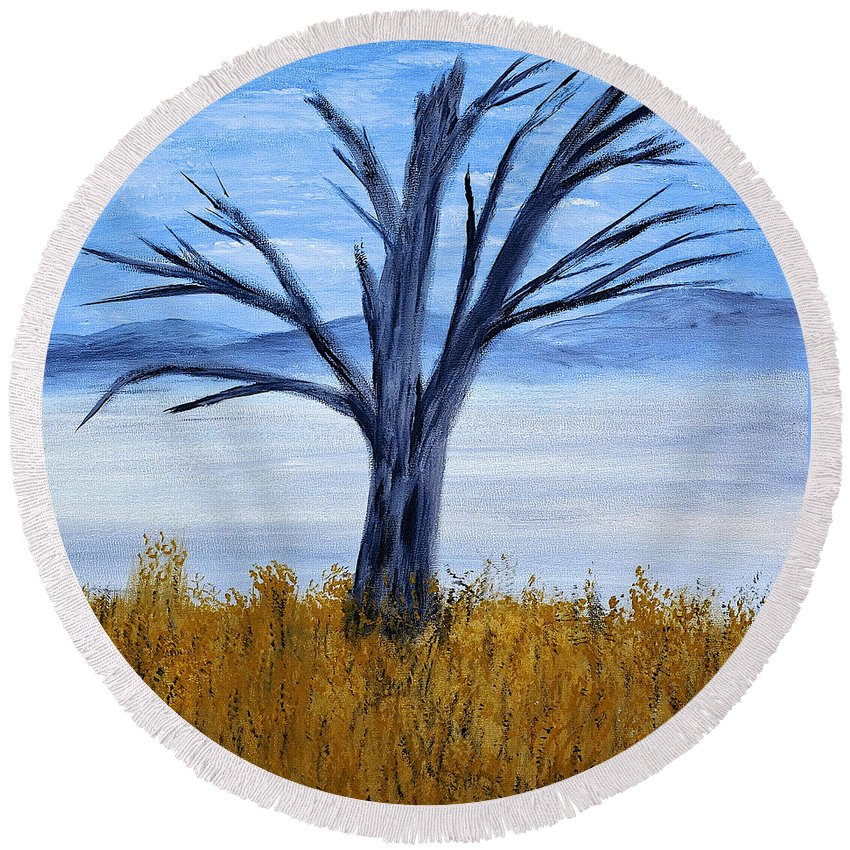 Tree Round Beach Towel featuring the painting Still Standing by Dick Bourgault
