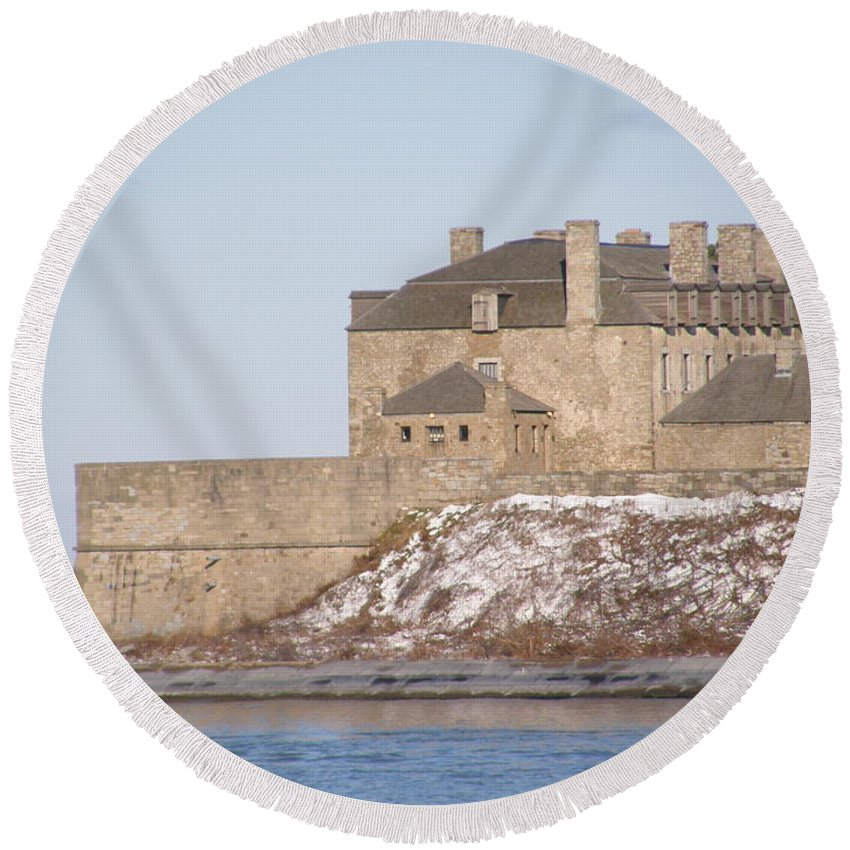 1812 Fort Niagara History Stone Battle Round Beach Towel featuring the photograph Still Watching by Dennis Burton