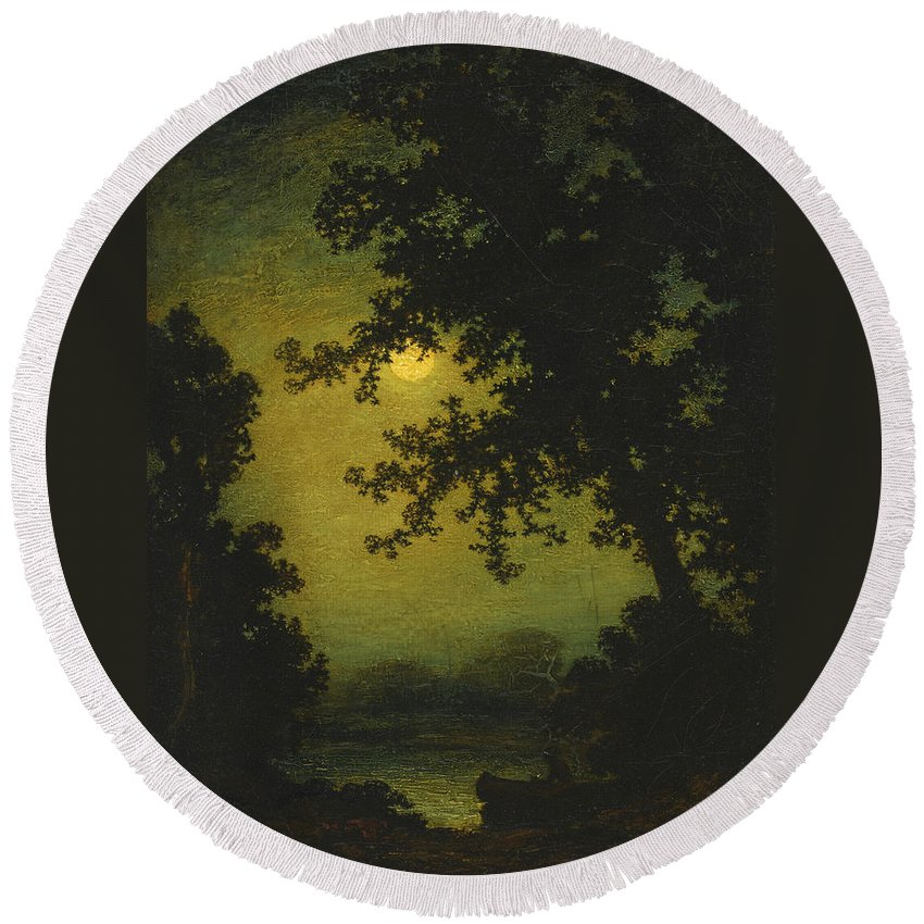 Ralph Albert Blakelock Round Beach Towel featuring the painting Stilly Night by Ralph Albert Blakelock