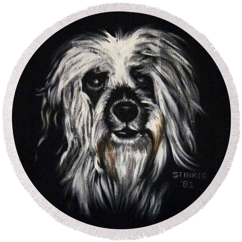 Dog Round Beach Towel featuring the painting Stinker by Sherry Oliver