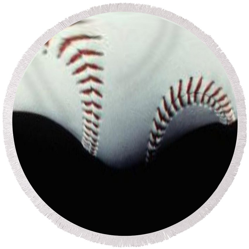 Baseball Round Beach Towel featuring the photograph Stitches Of The Game by Tim Allen