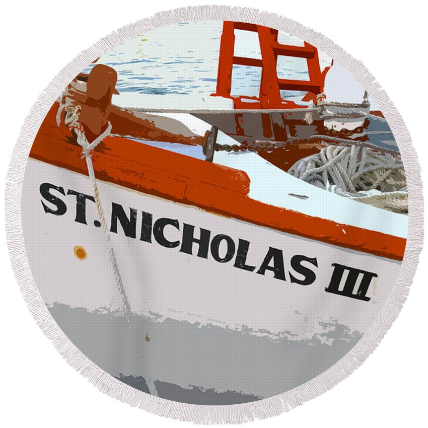 Sponge Boat Round Beach Towel featuring the painting St.nicholas Three by David Lee Thompson