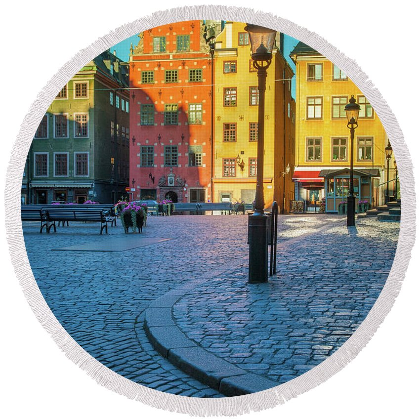 Europe Round Beach Towel featuring the photograph Stockholm Stortorget Square by Inge Johnsson