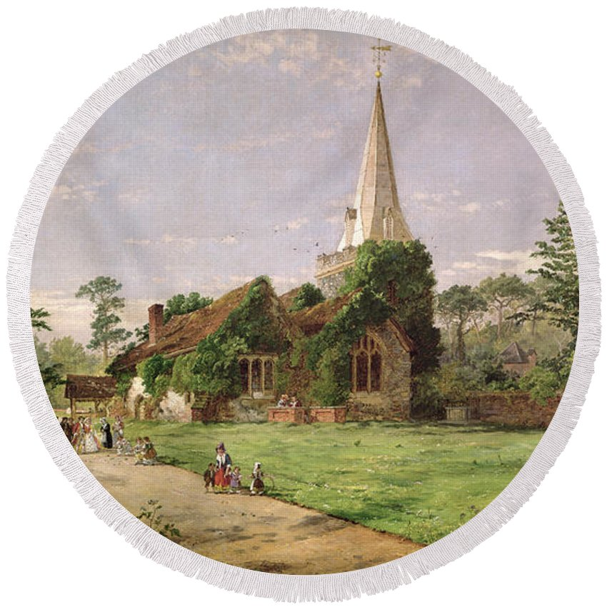 Stoke Round Beach Towel featuring the painting Stoke Poges Church by Jasper Francis Cropsey