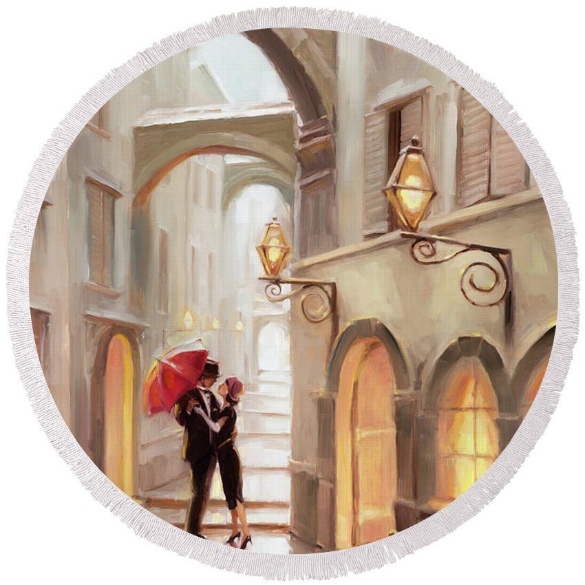Love Round Beach Towel featuring the painting Stolen Kiss by Steve Henderson