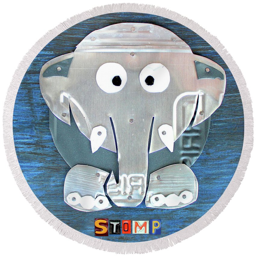 Stomp Round Beach Towel featuring the mixed media Stomp The Elephant Recycled License Plate Animal Art by Design Turnpike