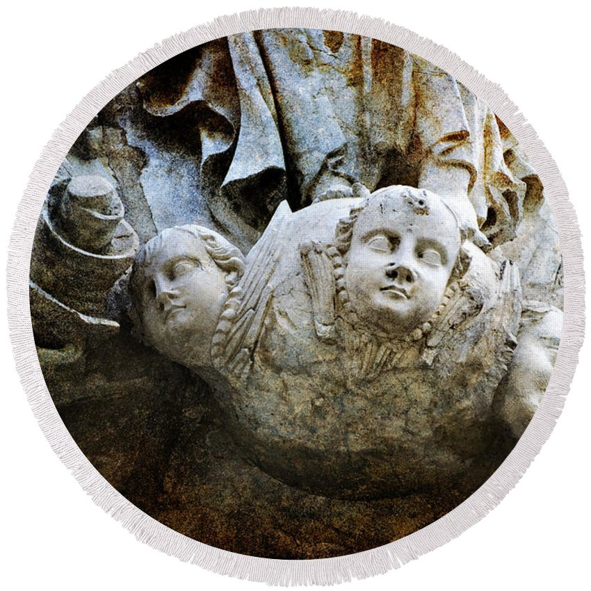 Sculpture Round Beach Towel featuring the photograph Stone Angels by Renee Hong