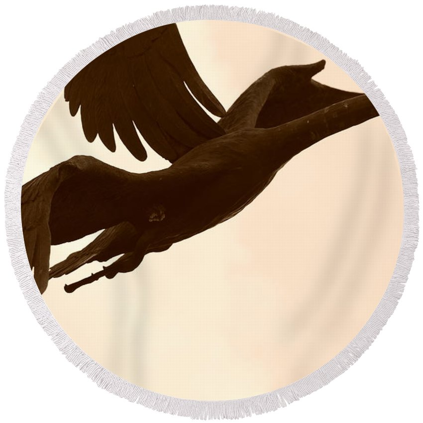 Sepia Round Beach Towel featuring the photograph Stone Birds by Rob Hans