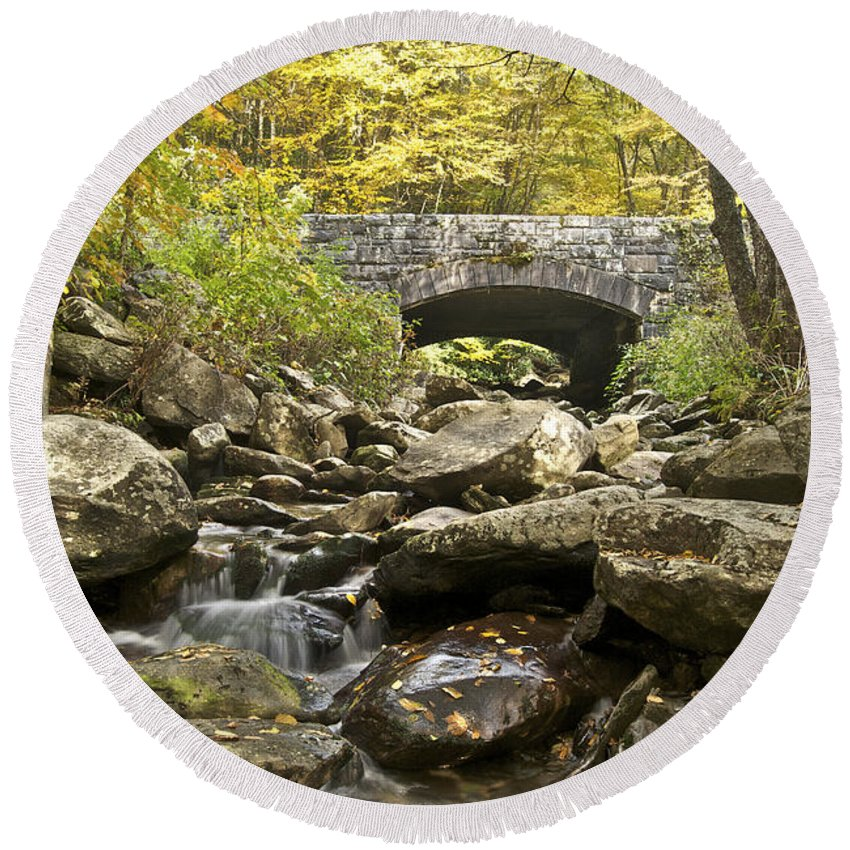Tennessee Round Beach Towel featuring the photograph Stone Bridge 6063 by Michael Peychich