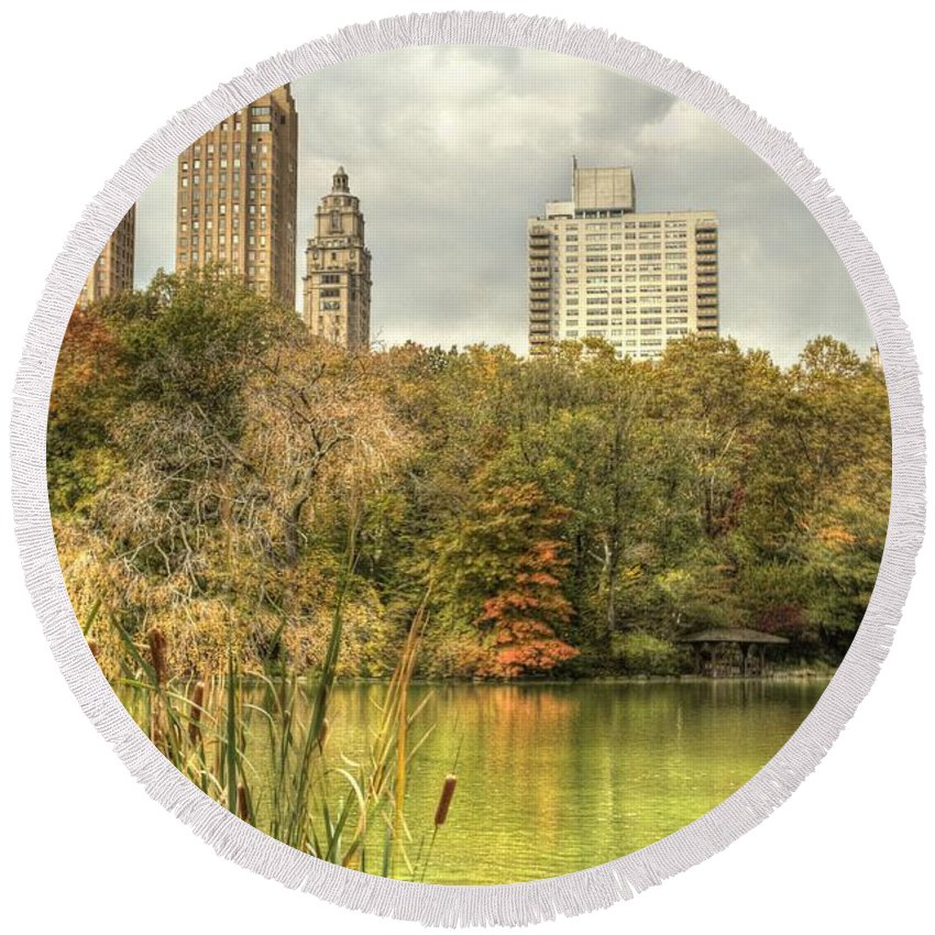 New York Round Beach Towel featuring the photograph stone bridge in Central Park by Geraldine Scull