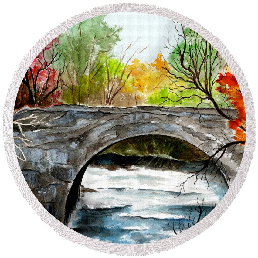 Landscape Round Beach Towel featuring the painting Stone Bridge In Maine by Brenda Owen
