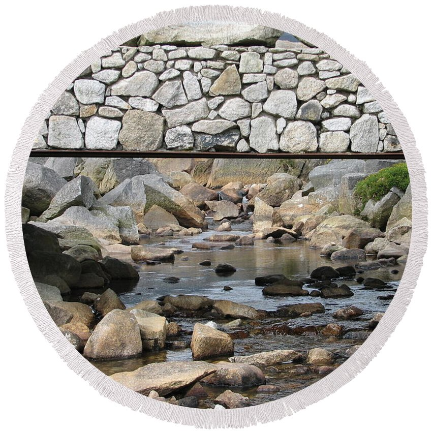 Stone Round Beach Towel featuring the photograph Stone Bridge by Kelly Mezzapelle