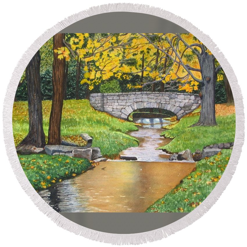 Landscape Round Beach Towel featuring the painting Stone Bridge by Sharon Farber
