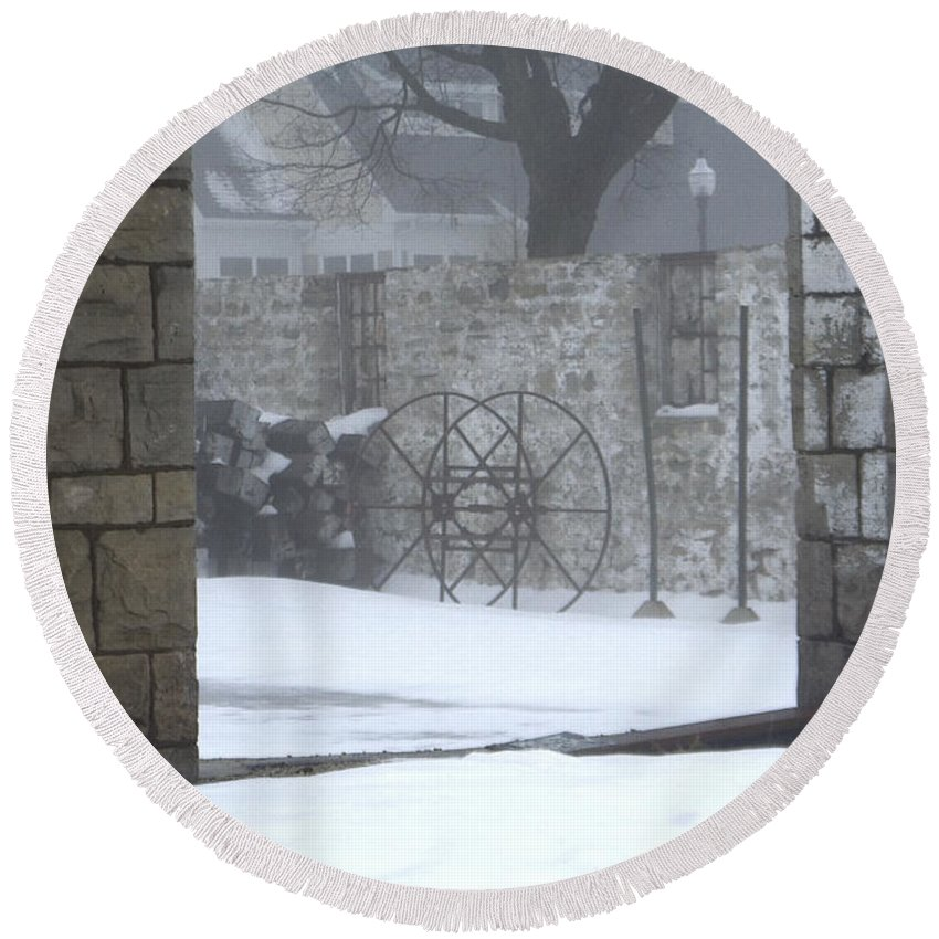 Winter Round Beach Towel featuring the photograph Stone Cellar by Tim Nyberg