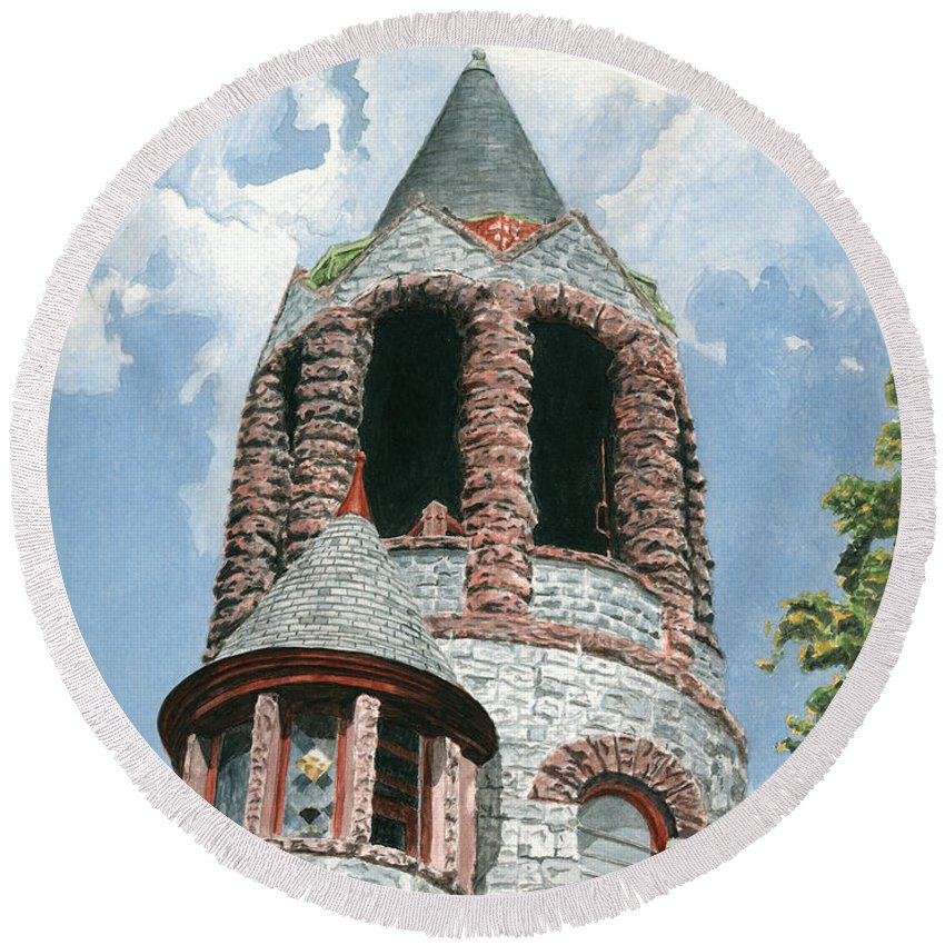 Church Round Beach Towel featuring the painting Stone Church Bell Tower by Dominic White