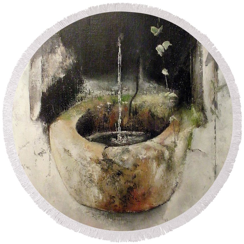 Stone Fountain Round Beach Towel featuring the painting Stone fountain by Tomas Castano
