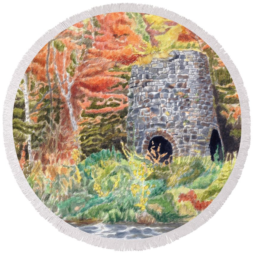 Stones Round Beach Towel featuring the painting Stone Furnace by Dominic White
