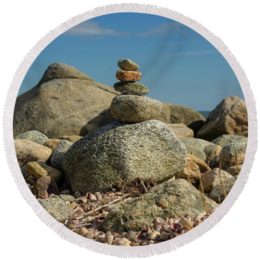Stone Round Beach Towel featuring the photograph Stone Stack by ChelleAnne Paradis