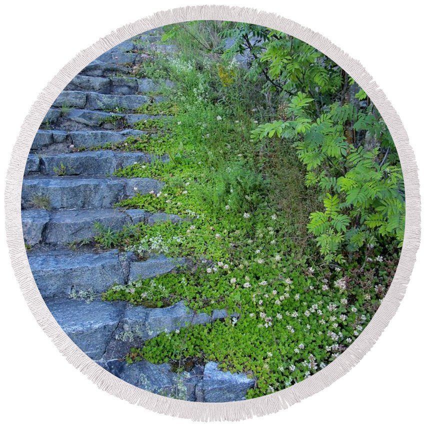 Blue Round Beach Towel featuring the photograph Stone Steps by Rosita Larsson