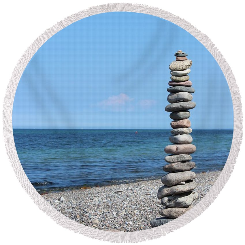 Blue Sky Round Beach Towel featuring the photograph Stone Towers by Heike Hultsch