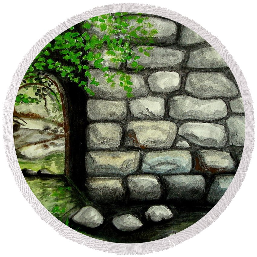 Landscape Round Beach Towel featuring the painting Stone Tunnel by Elizabeth Robinette Tyndall