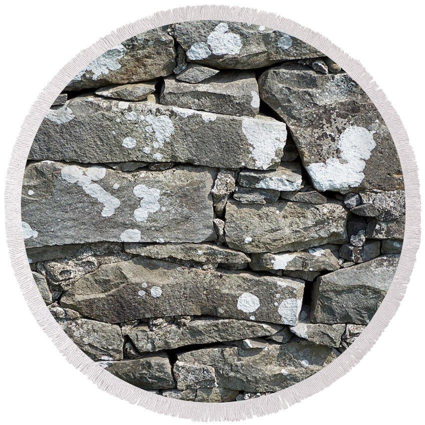 Irish Round Beach Towel featuring the photograph Stone Wall Detail Doolin Ireland by Teresa Mucha