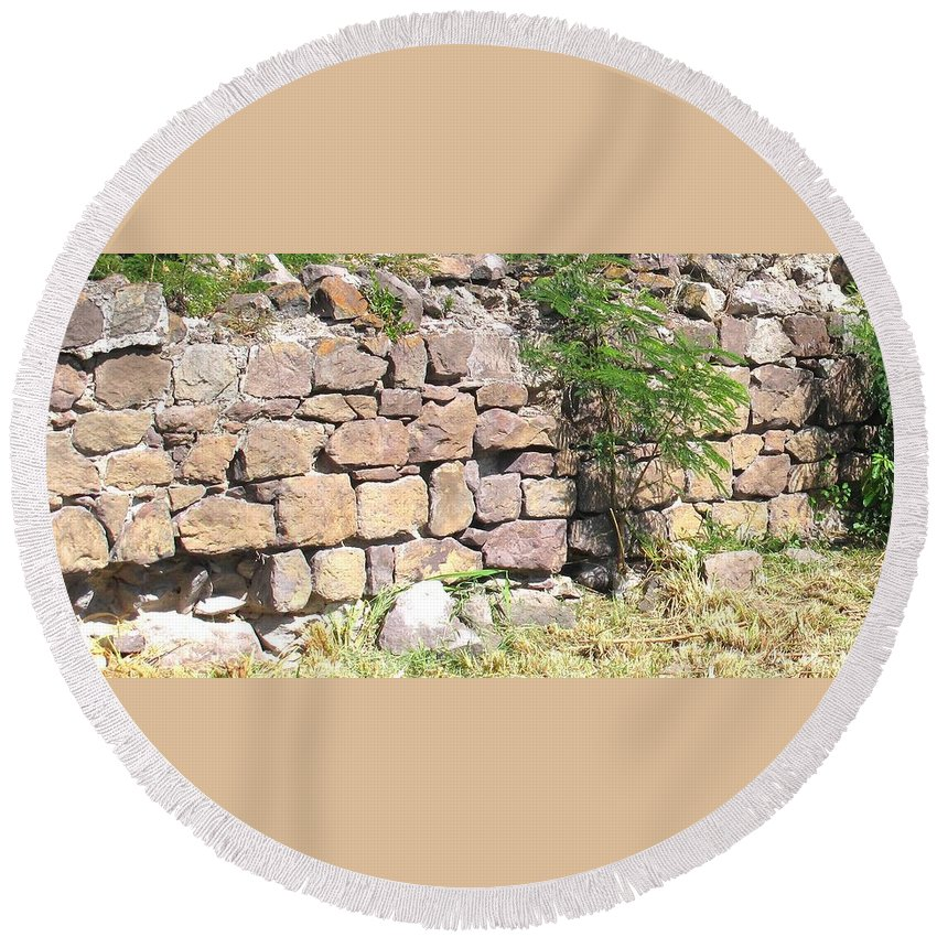 Stone Wall Round Beach Towel featuring the photograph Stone Wall by Ian MacDonald