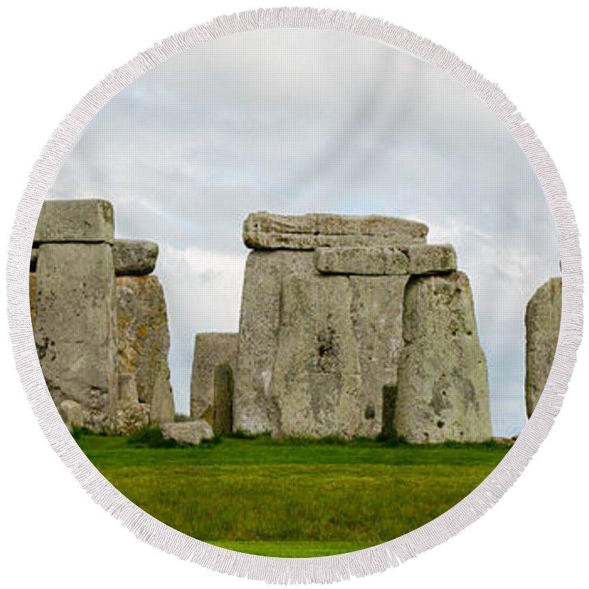 Stonehenge Round Beach Towel featuring the photograph Stonehenge Monument by Shanna Hyatt