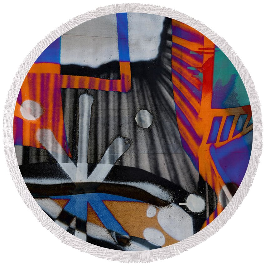 Abstract Round Beach Towel featuring the photograph Stones That Roll by The Artist Project