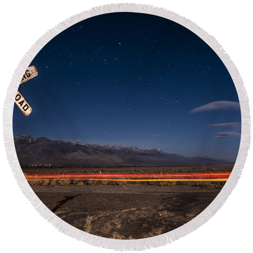 Light Trails Round Beach Towel featuring the photograph Stop Look Listen by Cat Connor