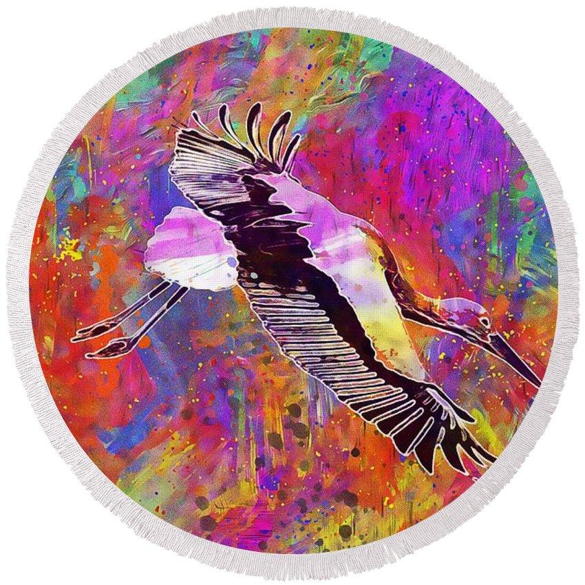 Stork Round Beach Towel featuring the digital art Stork Fly Elegant Feather Bird by PixBreak Art