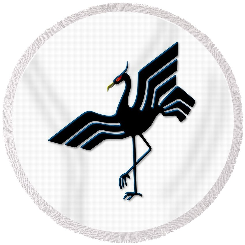 Animal Round Beach Towel featuring the digital art Stork by Frederick Holiday